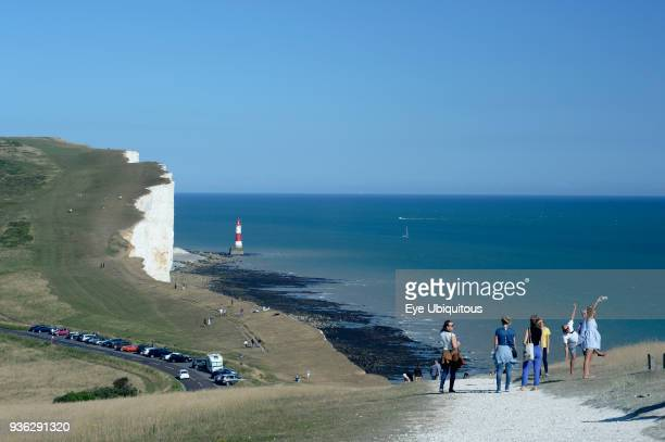 England East Sussex Beachy Head lighthouse viewed from the adjacent clifftop