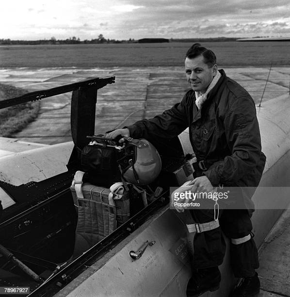 England Ejector Seat Training Squadron Leader John Fifield is pictured in the rear cockpit of the Meteor trainer in which he has carried out all of...