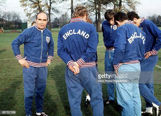 1966 England England manager Sir Alf Ramsey pictured during a training session with a group of players