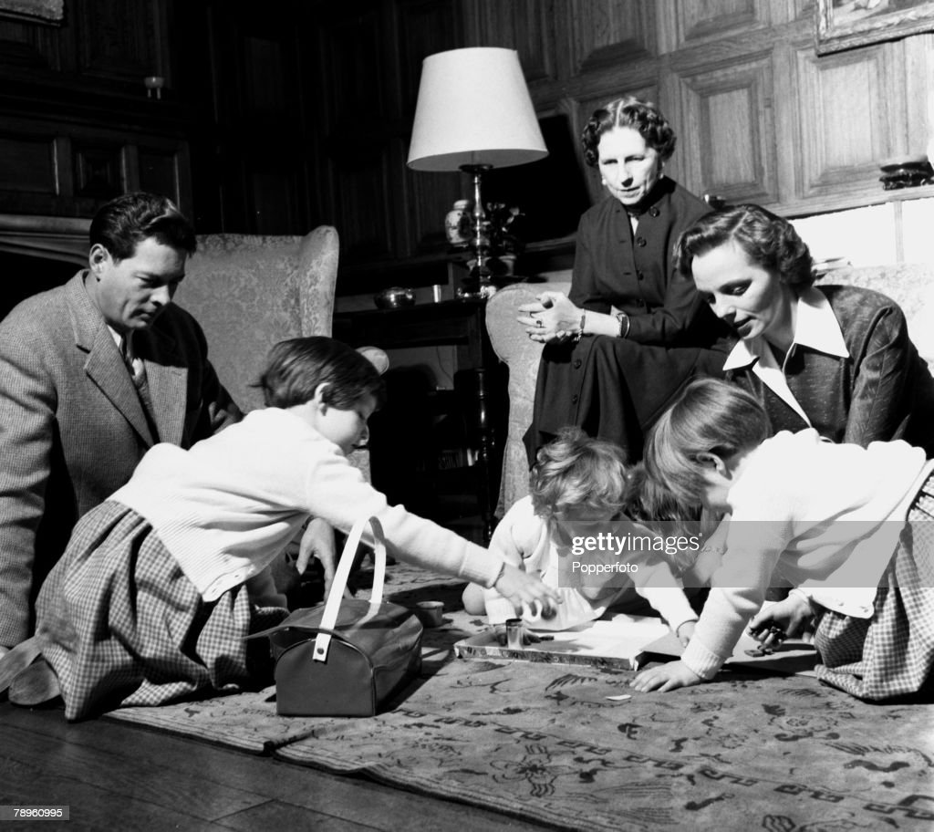 England. 1955. Ex-King Michael of Romania is pictured with the rest of his family in their English home. L-R: King Michael, eldest daughter Princess Margaret, the Queen Mother, Queen Helen and youngest daughter Princess Irene, and Queen Anne and Princess  : News Photo