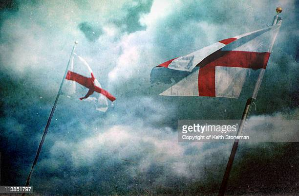 england expects st george cross flags - bandiera inglese foto e immagini stock