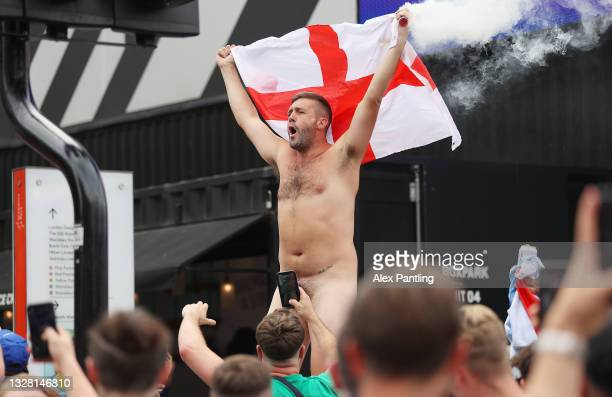 England fan enjoys the pre match atmosphere prior to the UEFA Euro 2020 Championship Final between Italy and England at Wembley Stadium on July 11,...