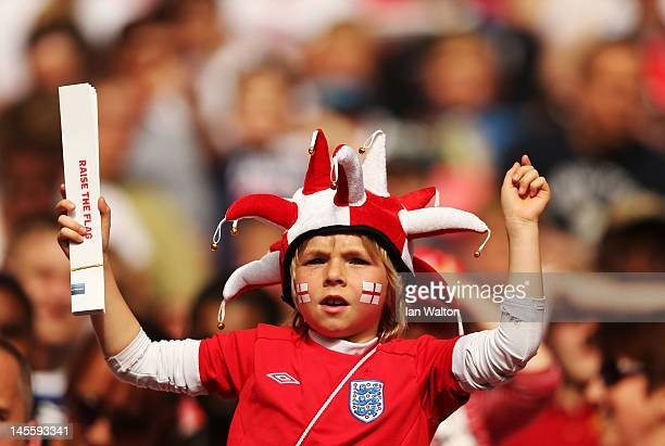 England fan prior to the international friendly match between England and Belgium at Wembley Stadium on June 2 2012 in London England