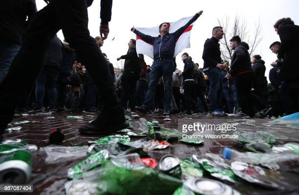 England fans amongst the debris of beer cans before the International Friendly match between Netherlands and England at Amsterdam Arena on March 23...