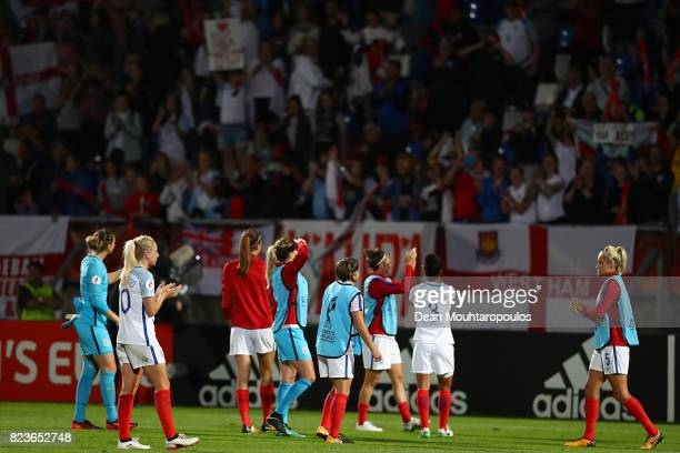 England fans applaud the travelling fans following the UEFA Women's Euro 2017 Group D match between Portugal and England at Koning Willem II Stadium...