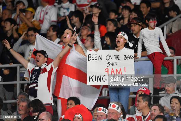 England fans applauding during the Rugby World Cup 2019 SemiFinal match between England and New Zealand at International Stadium Yokohama on October...