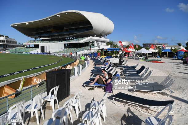 England fans arrive early for Day Two of the First Test match between England and West Indies at Kensington Oval on January 24 2019 in Bridgetown...