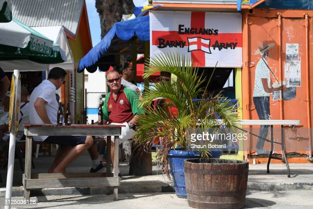 England fans arrive for Day Four of the First Test match between England and West Indies at Kensington Oval on January 26 2019 in Bridgetown Barbados