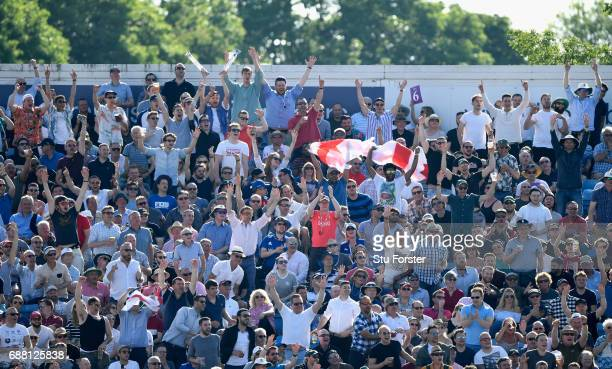 England fans celebrate a six during the 1st Royal London One Day International match between England and South Aafrica at Headingley on May 24 2017...