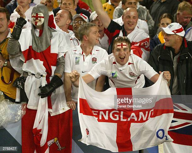 England fans celebrate after England won the Rugby World Cup Final match between Australia and England at Telstra Stadium November 22 2003 in Sydney...
