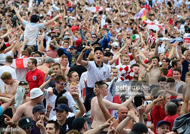 England fans celebrate as England score whilst watching the big screen television at the UEFA 2016 Fanzone on June 16 2016 in Lille France
