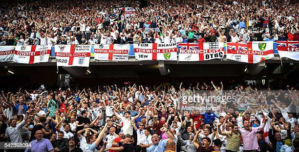 England fans celebrate during the UEFA EURO 2016 Group B match between England v Wales at Stade BollaertDelelis on June 16 2016 in Lens France