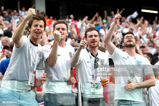 England fans celebrate following their sides victory in the 2018 FIFA World Cup Russia group G match between England and Panama at Nizhny Novgorod...