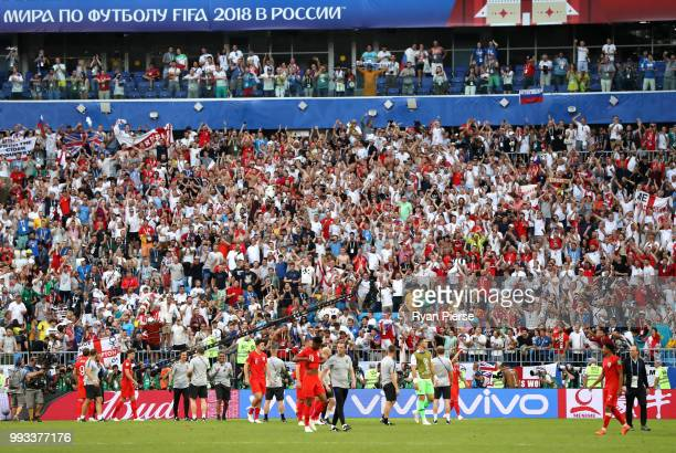 England fans celebrate following their sides victory in the 2018 FIFA World Cup Russia Quarter Final match between Sweden and England at Samara Arena...