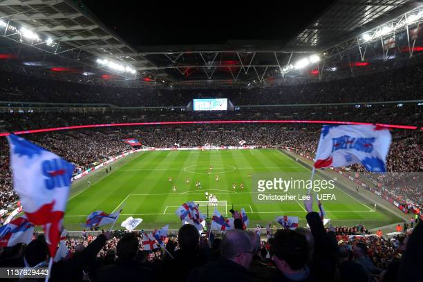 England fans celebrates Raheem Sterlings first goal during the 2020 UEFA European Championships group A qualifying match between England and Czech...