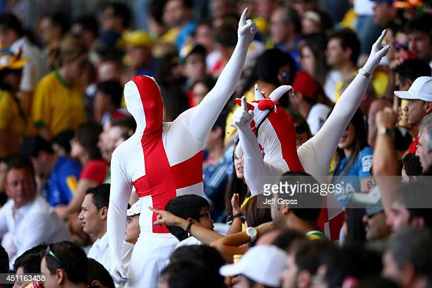 England fans cheer during the 2014 FIFA World Cup Brazil Group D match between Costa Rica and England at Estadio Mineirao on June 24 2014 in Belo...