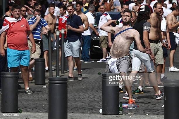 England fans clash ahead of the game against Russia later today on June 11 2016 in Marseille France Football fans from around Europe have descended...