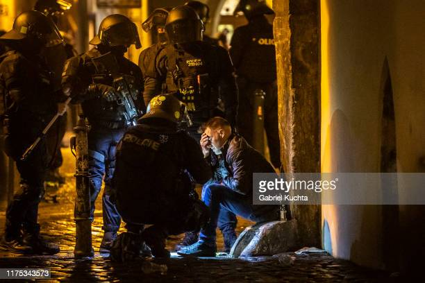 England fans detained by police in Prague ahead of the European Championship qualifying match between Czech Republic and England on October 11 2019...