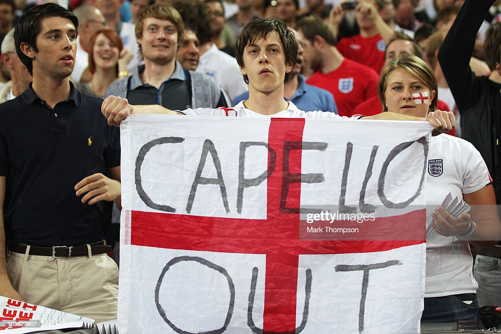 England fans display their feelings on a banner in the grandstand before the UEFA EURO 2012 Group G Qualifying match between England and Bulgaria at Wembley Stadium on September 3, 2010 in London, England.