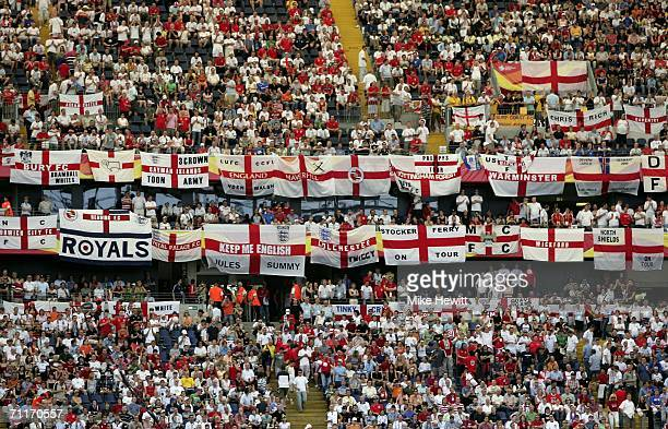 England fans display their flags prior to kickoff during the FIFA World Cup Germany 2006 Group B match between England and Paraguay at the Stadium...