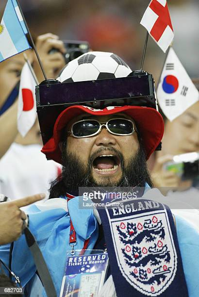 England fans during the FIFA World Cup Finals 2002 Group F match between England and Argentina played at the Sapporo Dome in Sapporo Japan on June 7...