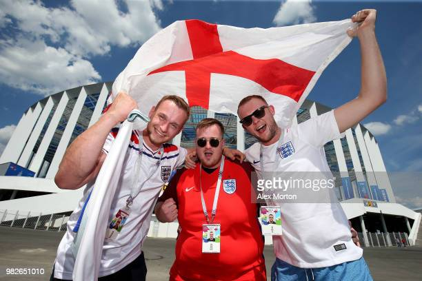 England fans enjoy the pre match atmosphere during the 2018 FIFA World Cup Russia group G match between England and Panama at Nizhniy Novgorod...