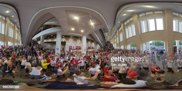 England fans enjoy the pre match atmosphere prior to the 2018 FIFA World Cup Russia Semi Final match between England and Croatia at Luzhniki Stadium...