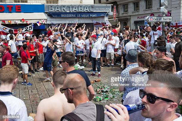 England fans enjoy the prematch build up in Marseille old town prior to the UEFA Euro 2016 Group B match between England and Russia at Stade...