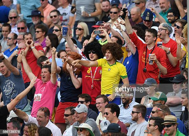 England fans enjoying the action during play on the third day of the third test cricket match between England and Pakistan at Edgbaston in Birmingham...