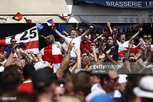 England fans gather and cheer ahead of the game against Russia later today on June 11 2016 in Marseille France Football fans from around Europe have...