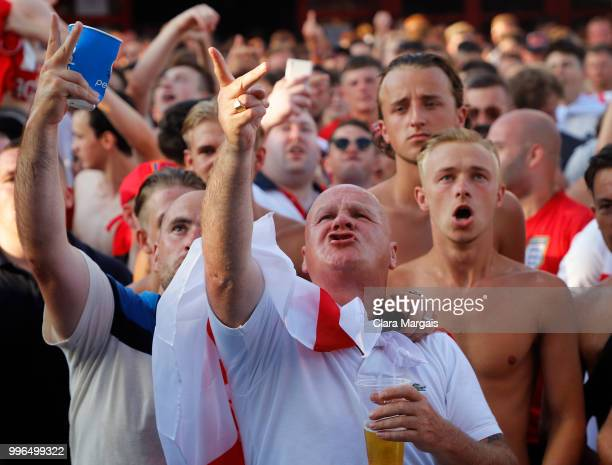 England fans gather to watch the World Cup semifinal match against Croatia in an outside viewing area on July 11 2018 in Magaluf at Mallorca Spain...
