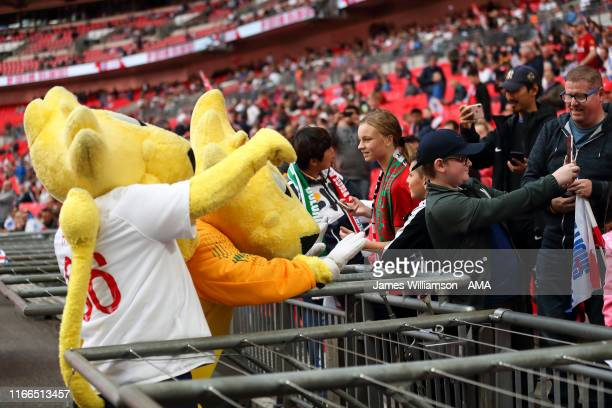 England fans getting a photo with mascots for the England national team during the UEFA Euro 2020 qualifier match between England and Bulgaria at...