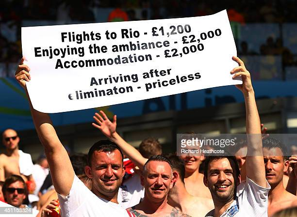 England fans hold up a sign during the 2014 FIFA World Cup Brazil Group D match between Costa Rica and England at Estadio Mineirao on June 24 2014 in...