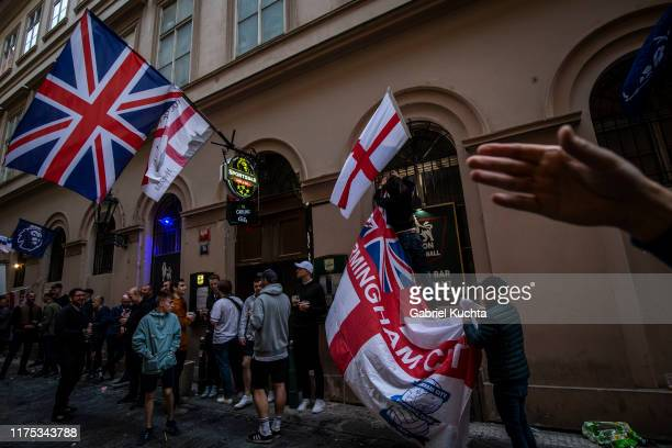England fans in Prague ahead of the European Championship qualifying match between Czech Republic and England on October 11 2019 in Prague Czech...