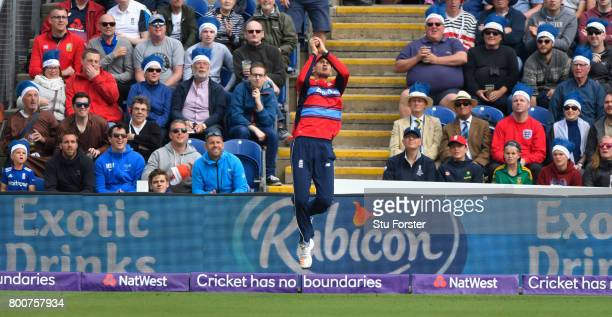 England fans look on as fielder Aex Hales takes a catch to dismiss AB de Villiers during the 3rd NatWest T20 International between England and South...