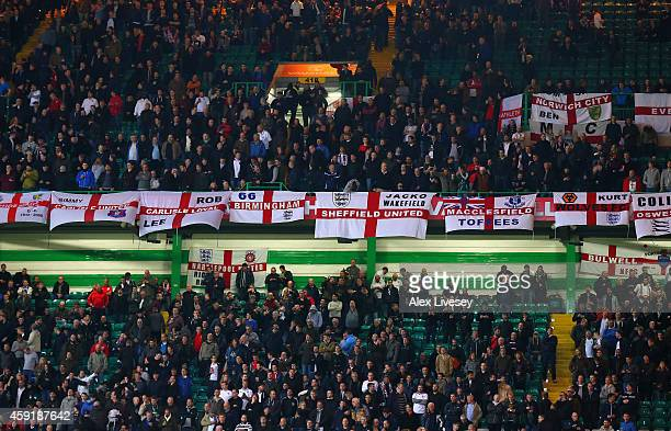 England fans look on during the International Friendly between Scotland and England at Celtic Park Stadium on November 18 2014 in Glasgow Scotland