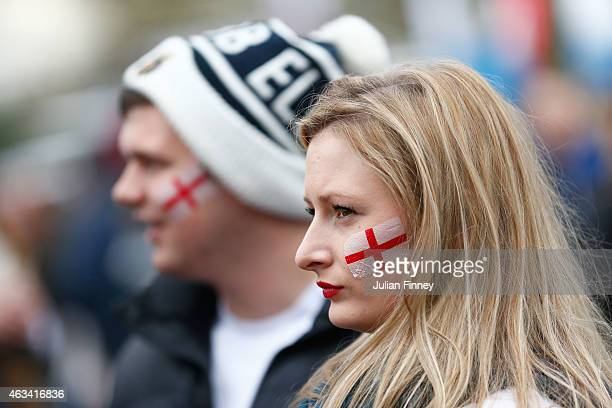 England fans look on outside the ground prior to the RBS Six Nations match between England and Italy at Twickenham Stadium on February 14 2015 in...