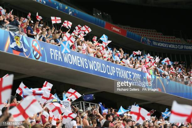 England fans react after the final whistle during the FIFA Women's World Cup Group D match at the Stade de Nice