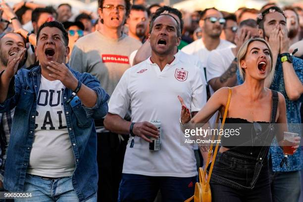 England fans react as they go close to scoring during the 2018 FIFA World Cup semi final match between Croatia and England at the Luna Beach Cinema...