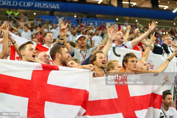England fans show their support at the end of extra time during the 2018 FIFA World Cup Russia Semi Final match between Croatia and England at...