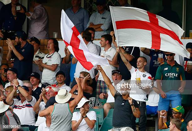 England fans show their support during day two of the 3rd Test at Wanderers Stadium on January 15 2016 in Johannesburg South Africa