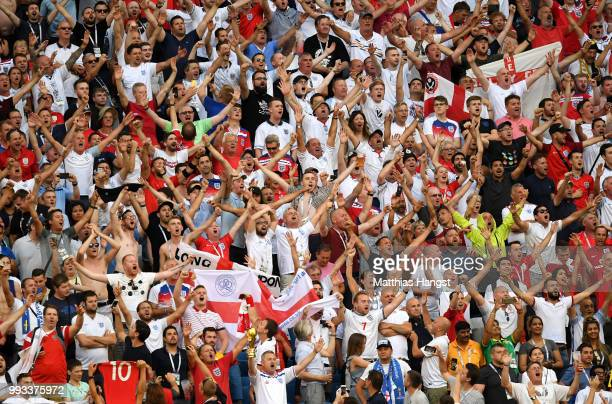 England fans show their support during the 2018 FIFA World Cup Russia Quarter Final match between Sweden and England at Samara Arena on July 7 2018...