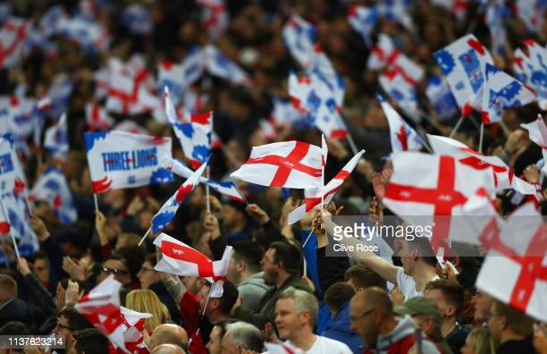 England fans show their support during the 2020 UEFA European Championships Group A qualifying match between England and Czech Republic at Wembley...