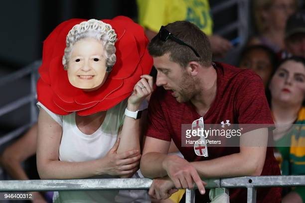England fans show their support during the medal ceremony for the Netball Gold Medal Match on day 11 of the Gold Coast 2018 Commonwealth Games at...