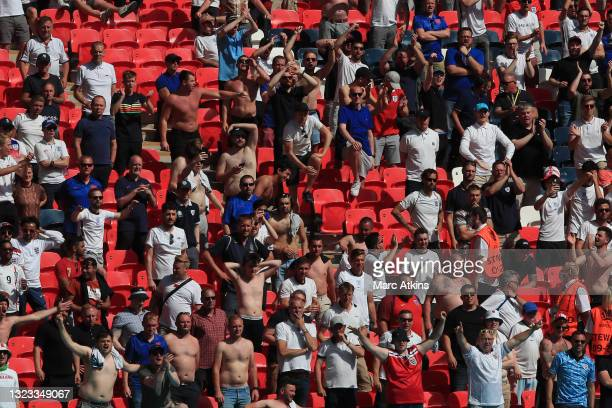England fans show their support during the UEFA Euro 2020 Championship Group D match between England and Croatia at Wembley Stadium on June 13, 2021...