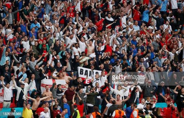 England fans show their support during the UEFA Euro 2020 Championship Round of 16 match between England and Germany at Wembley Stadium on June 29,...