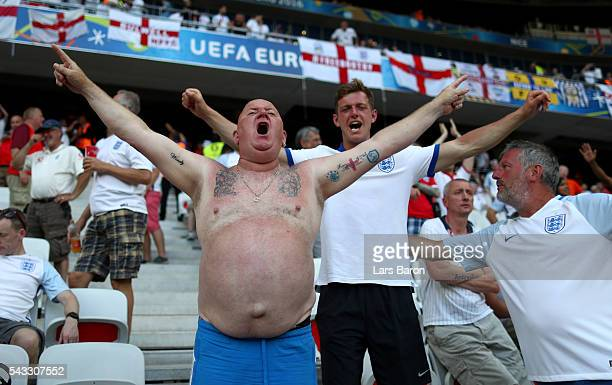England fans show their support prior to the UEFA EURO 2016 round of 16 match between England and Iceland at Allianz Riviera Stadium on June 27 2016...