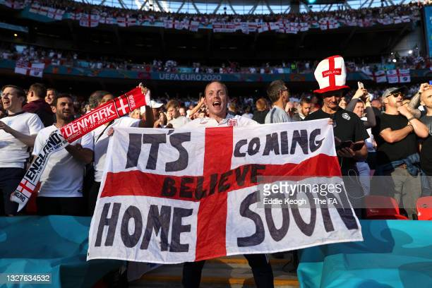 England fans show their support prior to the UEFA Euro 2020 Championship Semi-final match between England and Denmark at Wembley Stadium on July 07,...
