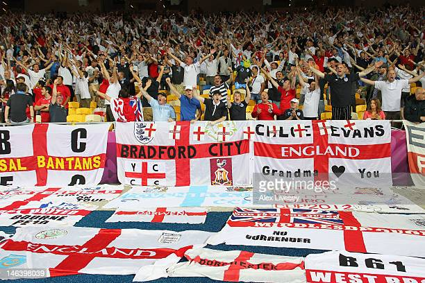 England fans soak up the atmopshere ahead of the UEFA EURO 2012 group D match between Sweden and England at The Olympic Stadium on June 15 2012 in...