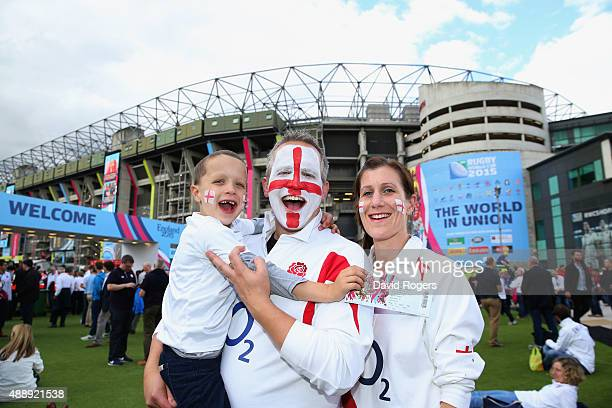 England fans soak up the prematch atmopshere during the 2015 Rugby World Cup Pool A match between England and Fiji at Twickenham Stadium on September...
